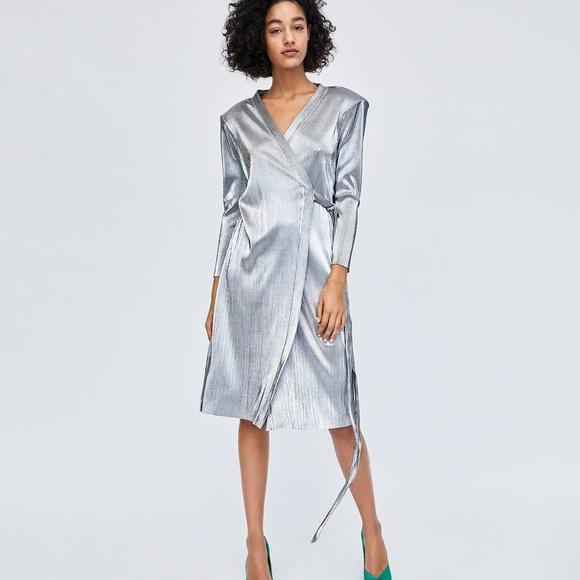 b8c44c0a Zara Dresses | Silver Pleated Wrap Dress | Poshmark